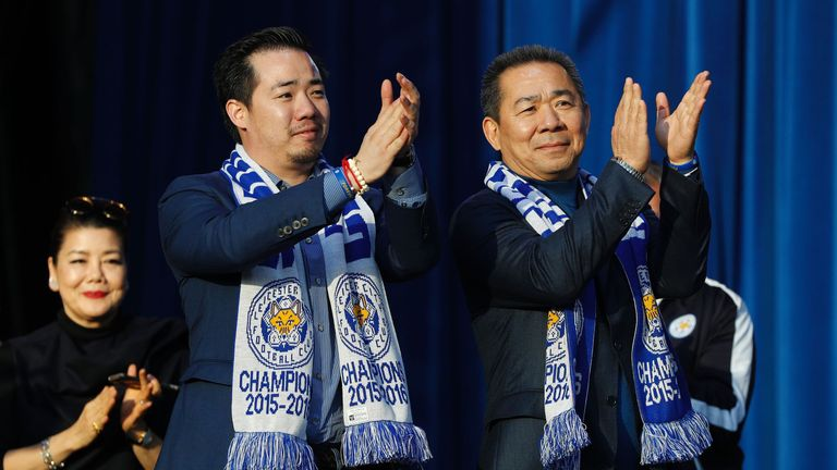 Aiyawatt (L) pictured with his late father Vichai (R) in 2016