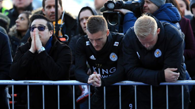 Aiyawatt Srivaddhanaprabha, Jamie Vardy and Kasper Schmeichel pay tribute to club chairman Vichai Srivaddhanaprabha, who was killed with four other people when his helicopter crashed outside the King Power Stadium on Saturday evening