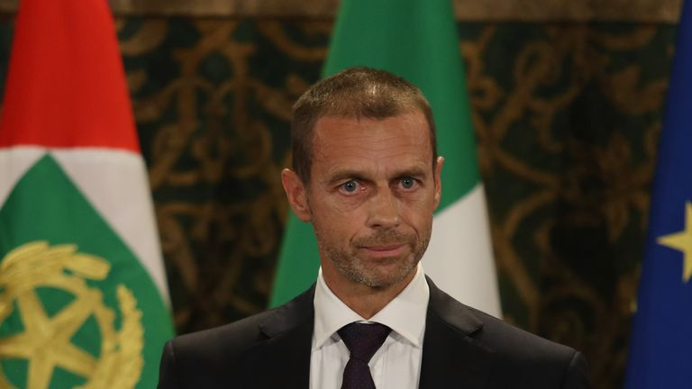ROME, ITALY - OCTOBER 15:  UEfA President Aleksander Ceferin attends the meeting with Italy team at Quirinale Palace on October 15, 2018 in Rome, Italy.  (Photo by Paolo Bruno/Getty Images)