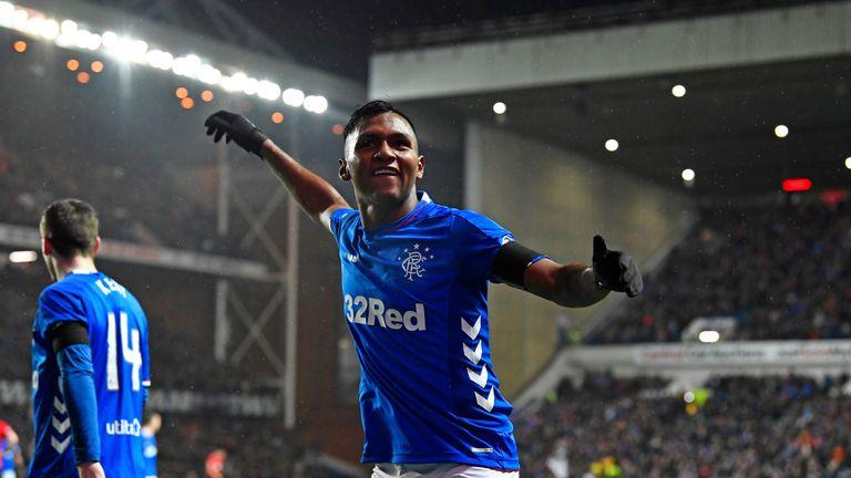Alfredo Morelos celebrates after scoring to make it 1-0 to Rangers v Kilmarnock, Scottish Premiership