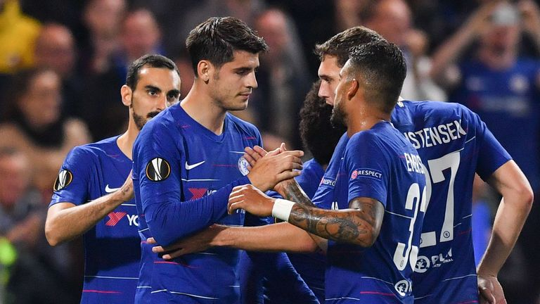 Alvaro Morata celebrates scoring Chelsea's second-half winner