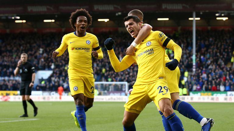Alvaro Morata celebrates scoring against Burnley