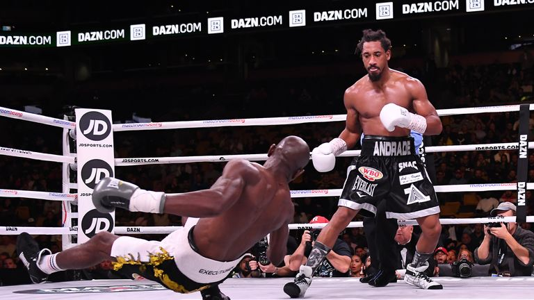 October 20, 2018; Boston, MA, USA; Demetrius Andrade and Walter Kautondokwa during their 12 round bout for the vacant WBO middleweight championship at the TD Garden in Boston, MA. Mandatory Credit: Matt Heasley/Matchroom Boxing USA