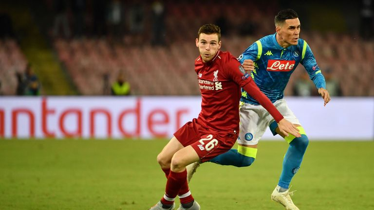 Andy Robertson and Jose Callejon battle for possession
