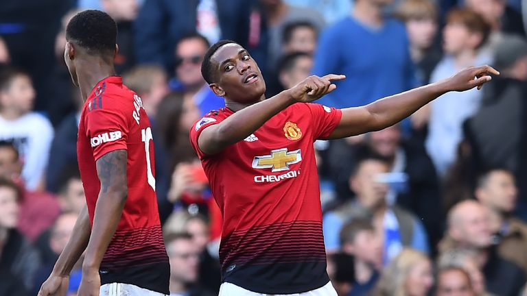 Anthony Martial celebrates his and Manchester United's second goal
