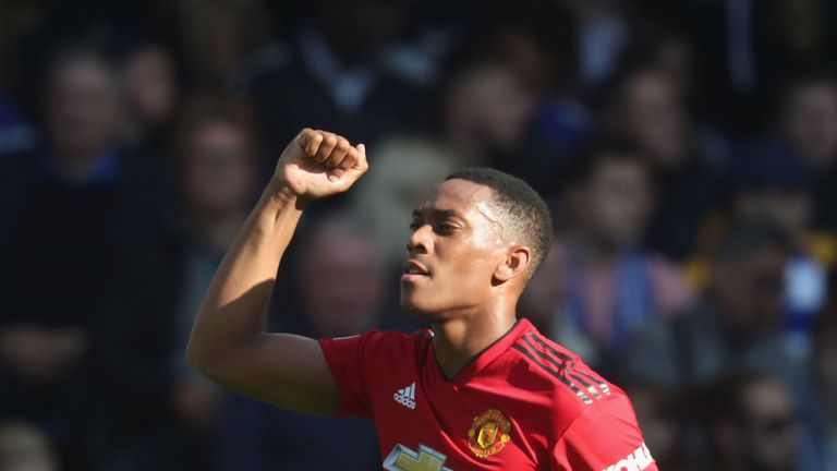 Anthony Martial celebrates his second goal