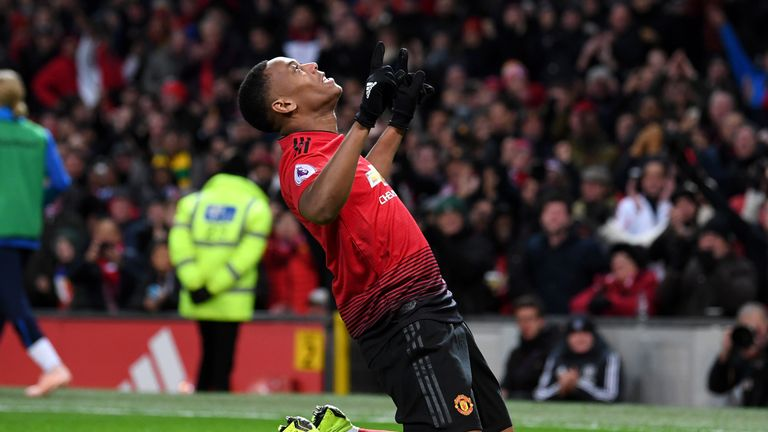 Anthony Martial celebrates scoring against Everton