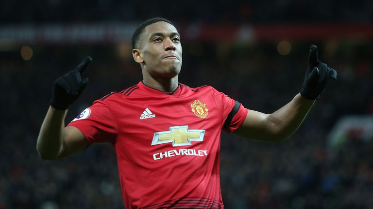 Anthony Martial scored the decisive goal against Everton
