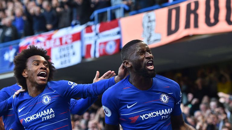 Antonio Rudiger celebrates after giving Chelsea the lead
