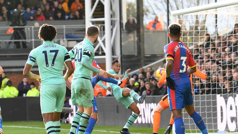 Pierre-Emerick Aubameyang (centre) fires Arsenal ahead at Palace, but should the goal have stood?