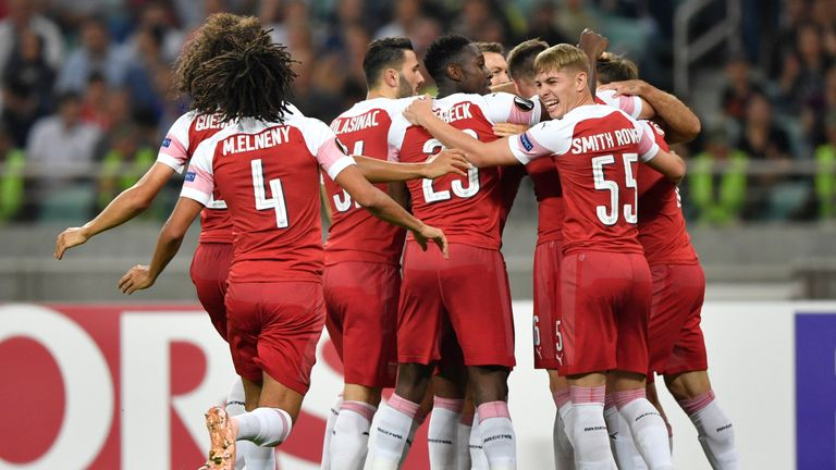 Arsenal celebrate Sokratis' early opener