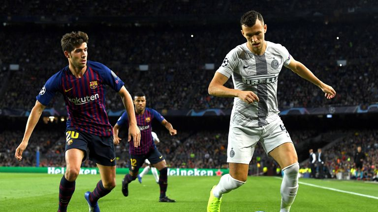 during the Group B match of the UEFA Champions League between FC Barcelona and FC Internazionale at Camp Nou on October 24, 2018 in Barcelona, Spain.