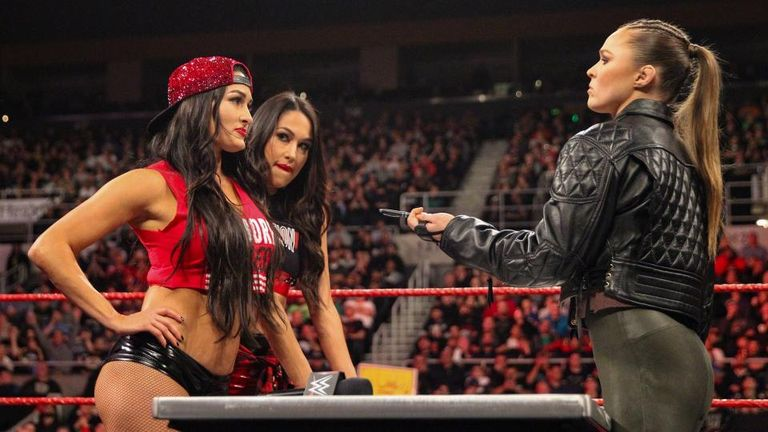 Ronda Rousey and Nikki Bella made their WWE Raw Women's title match at WWE Evolution official