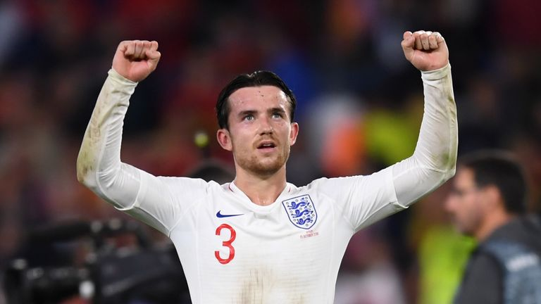 Ben Chilwell during the UEFA Nations League A Group Four match between Spain and England at Estadio Benito Villamarin on October 15, 2018 in Seville, Spain.