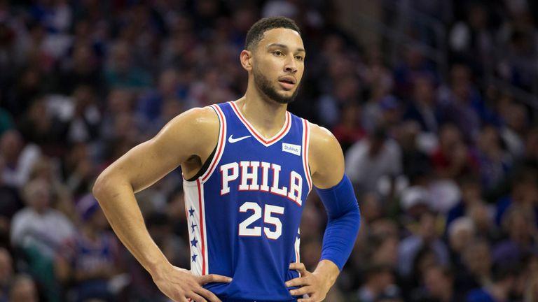 Ben Simmons #25 of the Philadelphia 76ers looks on against the Chicago Bulls at the Wells Fargo Center on October 18, 2018 in Philadelphia, Pennsylvania.