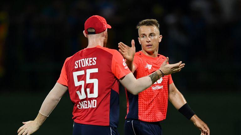 Ben Stokes and Tom Curran celebrate during England's third ODI against Sri Lanka