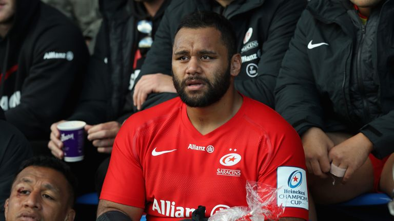 Saracens' Billy Vunipola nurses his arm injury during his side's Champions Cup clash with Glasgow