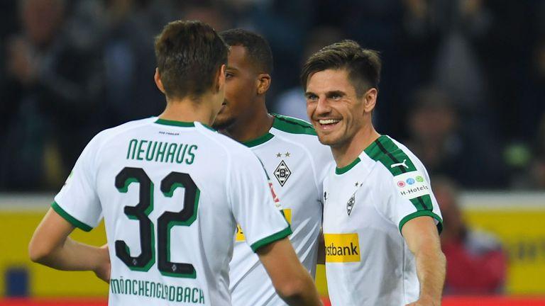 Jonas Hofmann scored a hat-trick for Monchengladbach on Sunday