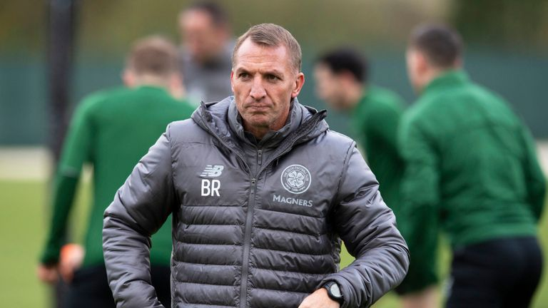 Celtic manager Brendan Rodgers during a training session in Lennoxtown