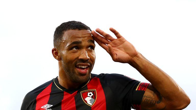 Callum Wilson celebrates scoring his second and Bournemouth's third goal against Fulham