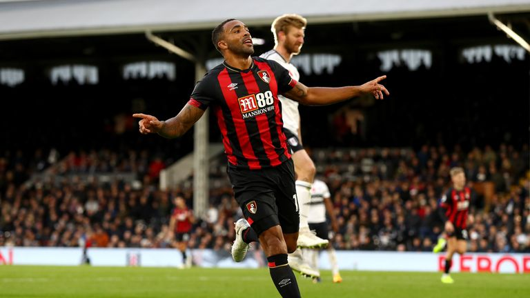 Callum Wilson celebrates scoring his second and Bournemouth's third goal against Fulham