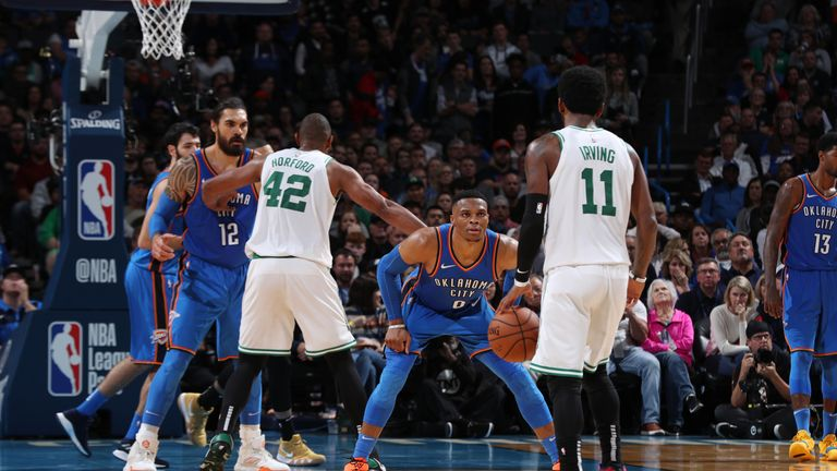 Kyrie Irving #11 of the Boston Celtics handles the ball against Russell Westbrook #0 of the Oklahoma City Thunder on October 25, 2018 at Chesapeake Energy Arena in Oklahoma City, Oklahoma.