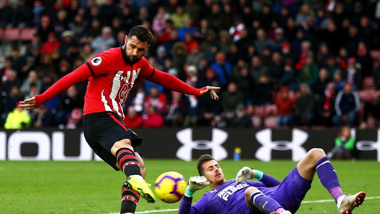 Charlie Austin thumps the ball into an empty, but his goal is disallowed