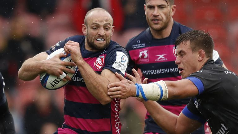 Charlie Sharples on the attack as Gloucester made their first appearance in Europe's top flight competition since the 2013/14 season