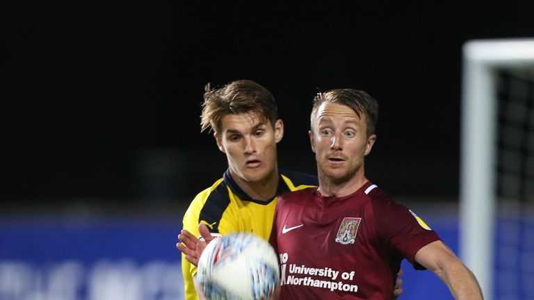 Dean Bowditch shields the ball in Northampton's win over Oxford