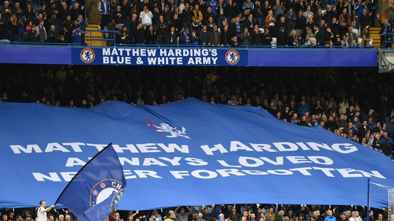 A tribute to Matthew Harding is seen during the Premier League match between Chelsea and Manchester United at Stamford Bridge on October 23, 2016