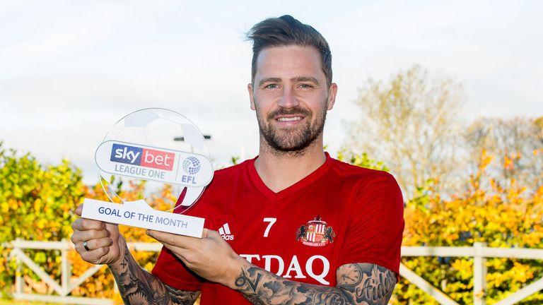 Chris Maguire of Sunderland wins the Sky Bet League One Goal of the Month award - Mandatory by-line: Robbie Stephenson/JMP - 25/10/2018 - FOOTBALL - Academy of Light Training Ground - Sunderland, England - Sky Bet Goal of the Month Award