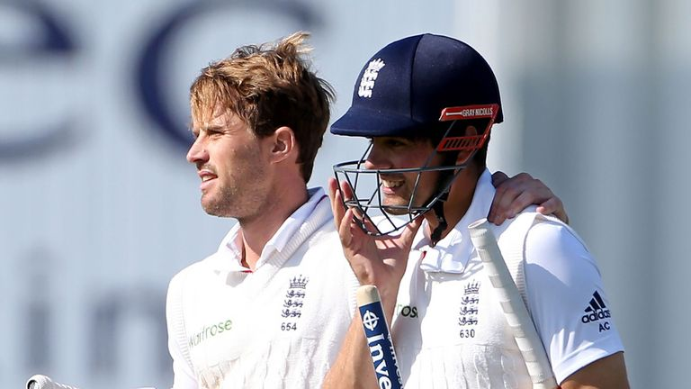 Compton, left, says he was 'particularly proud' to have opened the batting for England with Alastair Cook