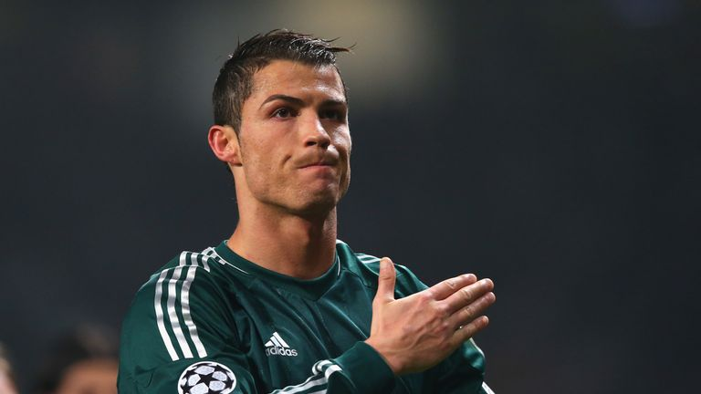 Cristiano Ronaldo during the UEFA Champions League Round of 16 Second leg match between Manchester United and Real Madrid at Old Trafford on March 5, 2013 in Manchester, United Kingdom.