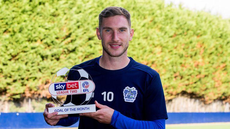 Danny Mayor of Bury wins the Sky Bet League Two Goal of the Month award - Mandatory by-line: Robbie Stephenson/JMP - 22/10/2018 - FOOTBALL - Carrington Training Ground  - Manchester, England - Sky Bet Goal of the Month Award