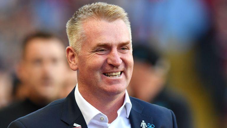 Aston Villa head coach Dean Smith arrives prior to kick-off in the Sky Bet Championship match at Villa Park