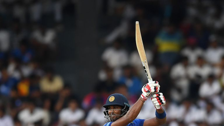 Dinesh Chandimal hits a shot during the fifth ODI against England