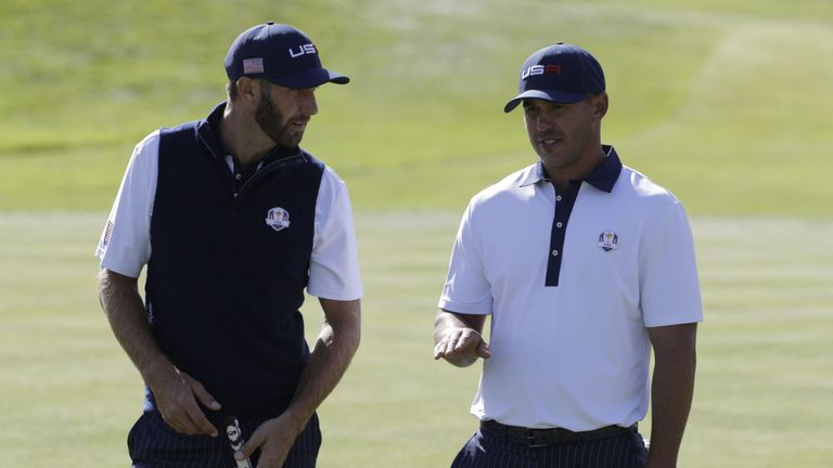 Dustin Johnson and Brooks Koepka played together in Saturday's foursomes