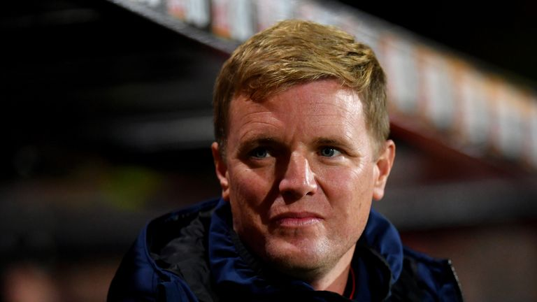 Eddie Howe during Bournemouth's Carabao Cup tie with Norwich