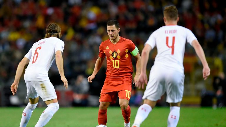 Eden in action during Belgium's Nations League clash with Switzerland