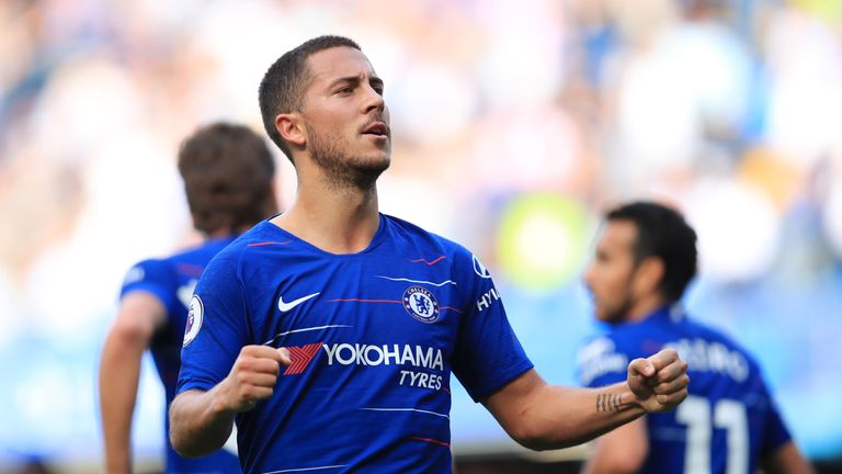 Eden Hazard celebrates after scoring Chelsea's first goal during the Premier League match against Cardiff City at Stamford Bridge on September 15, 2018