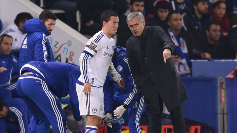 Eden Hazard and Jose Mourinho during the Premier League match between Leicester City and Chelsea at the King Power Stadium on December14, 2015 in Leicester, United Kingdom