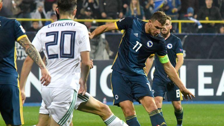 Edin Dzeko scored twice as Northern Ireland were beaten 2-0 on Monday