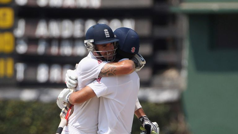 Kevin Pietersen hugs England team-mate Alastair Cook  after scoring the winning runs in the second Test