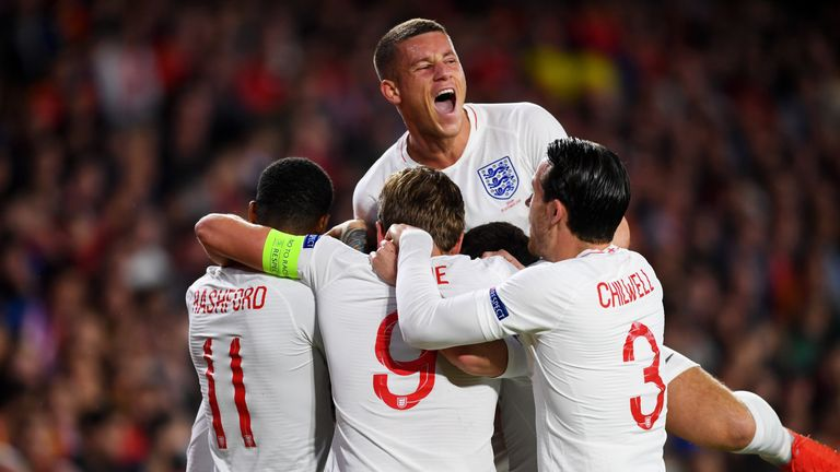 England players celebrate Raheem Sterling's opening goal