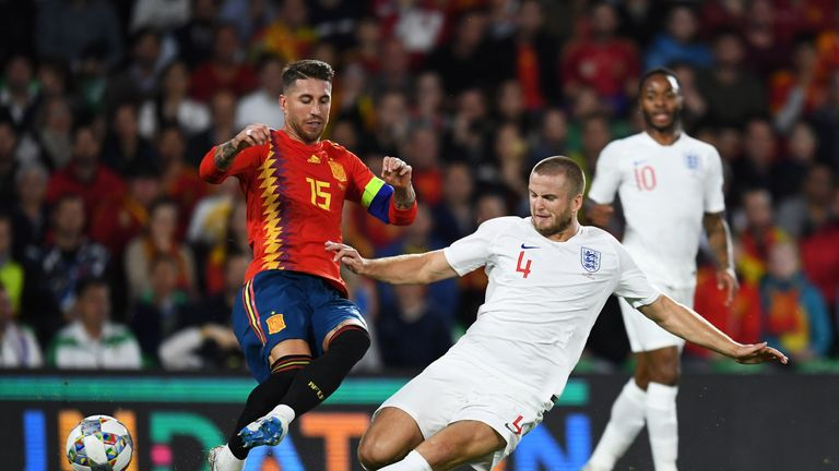 Eric Dier was booked for a strong challenge on Sergio Ramos