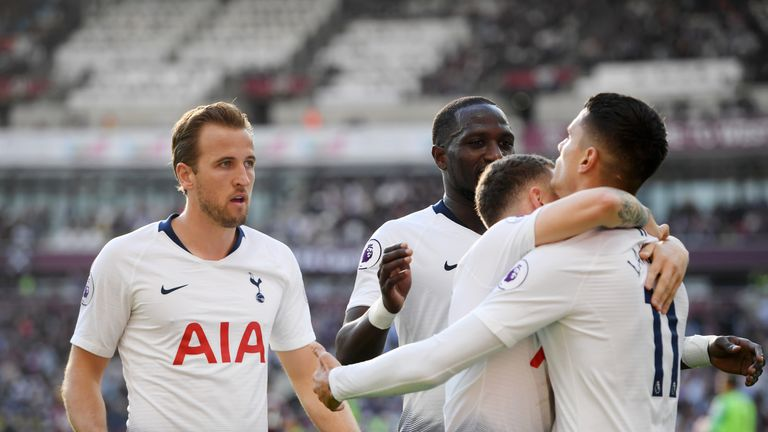 Erik Lamela celebrates his goal with Tottenham team-mates