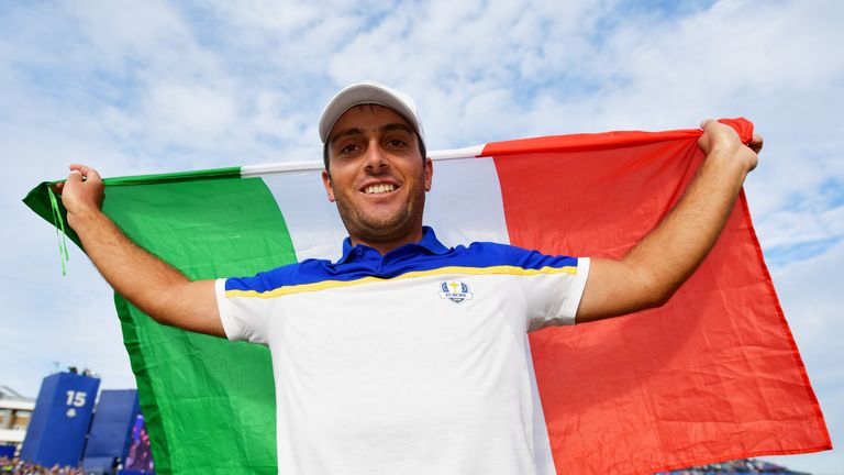 Francesco Molinari during singles matches of the 2018 Ryder Cup at Le Golf National on September 30, 2018 in Paris, France.