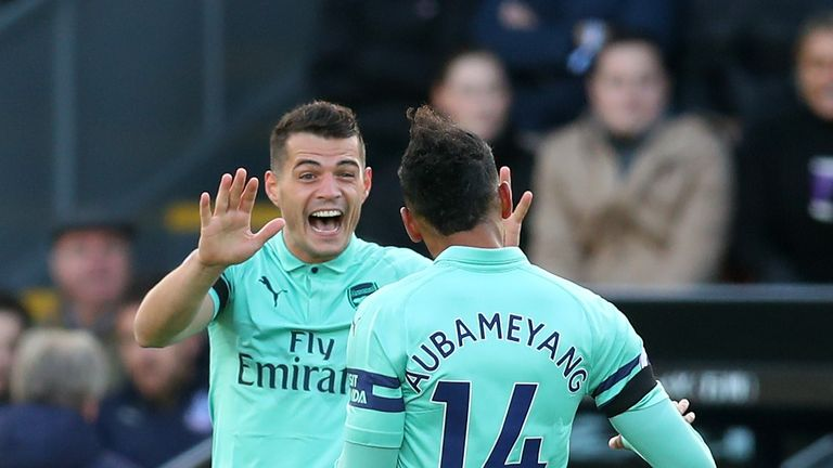 Granit Xhaka celebrates scoring against Crystal Palace