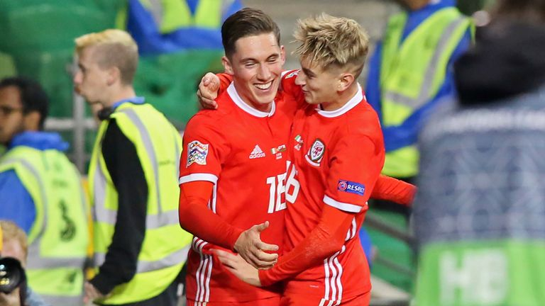 Harry Wilson (L) celebrates his goal