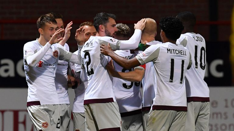 Hearts celebrate netting their third.